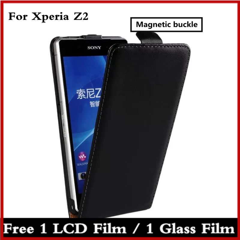 Clamshell phone case for Sony Xperia Z2 D6503 leather case ultra thin Magnetic adsorption flip coevr case for Sony Z2