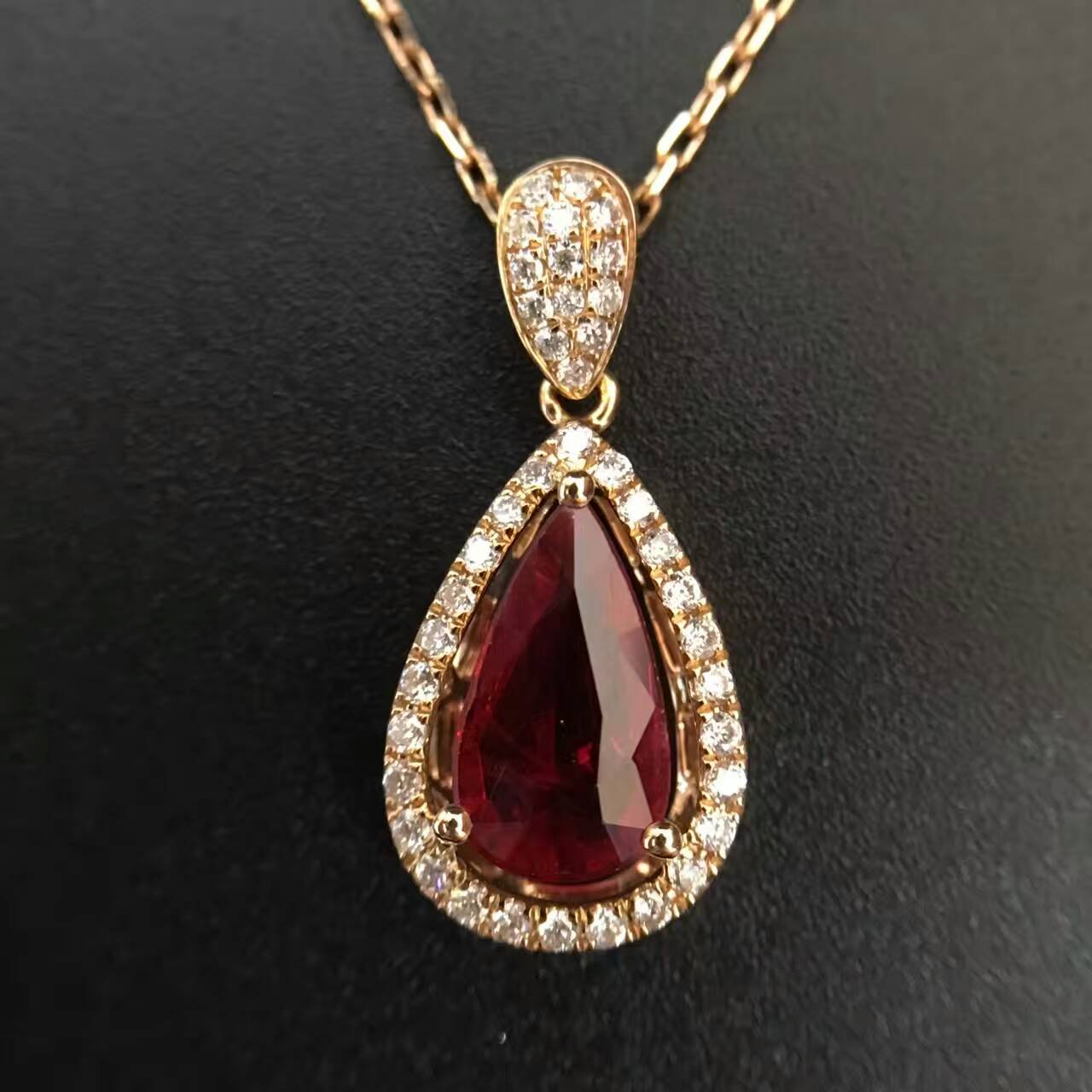 18K Gold 1 301ct Natural Ruby and Pendant font b Necklace b font 0 265ct font
