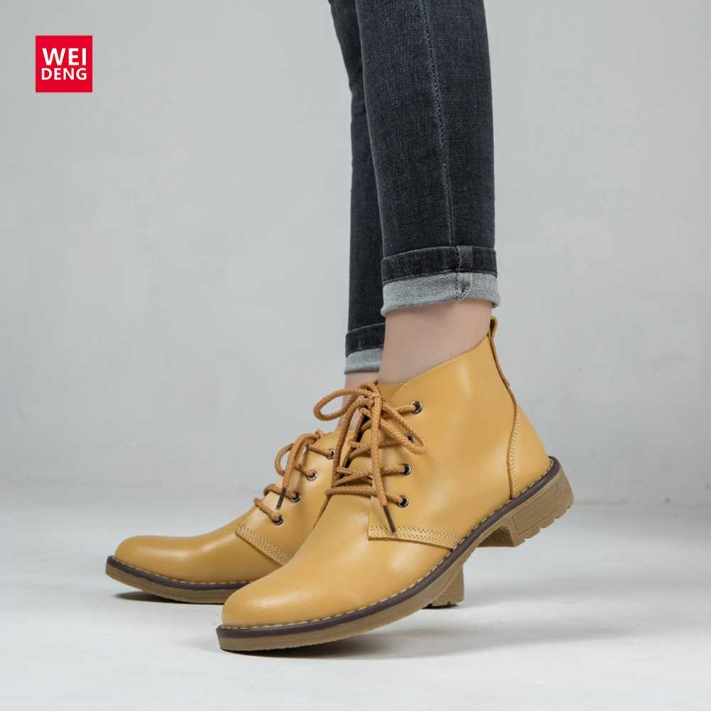 WeiDeng 6 Kleur Lederen Vrouwen Laarzen Mode Winter Lace Up Classic Schoen Hoge Stijl Flats Casual Schoenen Laarzen Waterdicht