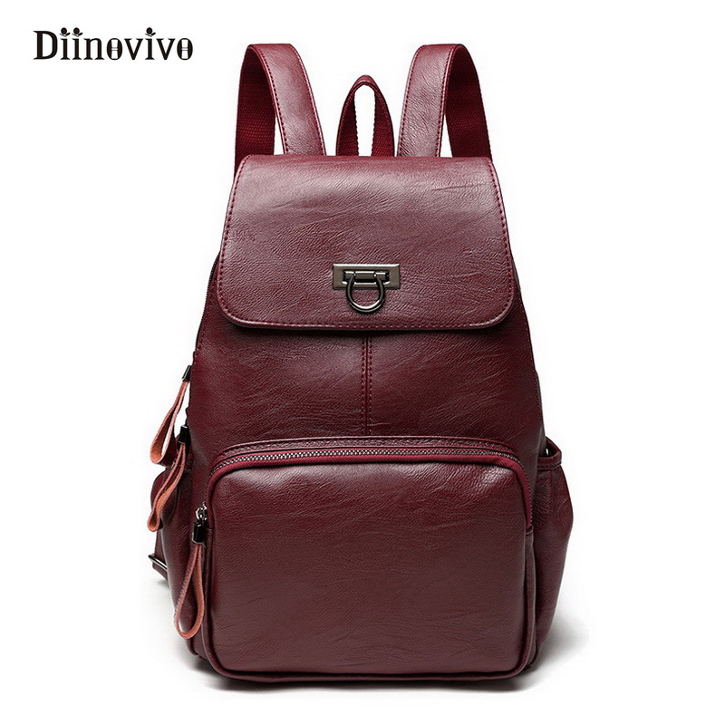 DIINOVIVO Designer Women's Backpacks Genuine Leather Female Backpack Women School Bag for Girls Large Capacity Mochila WHDV0193