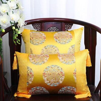 Классические Лоскутные цветочные шелковые наволочки для декоративных подушек подушечки высокого качества стул для дома офиса диванная подушка крышка - Цвет: yellow  5 dragon