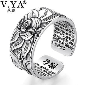 V.YA Open-Ring Silver Jewelry Buddhistic Lotus-Flower 100%Real Heart Sutra Fashion Pure