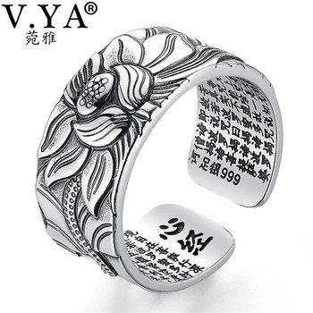 V.YA 100% Real 999 Pure Silver Jewelry Lotus Flower Open Ring
