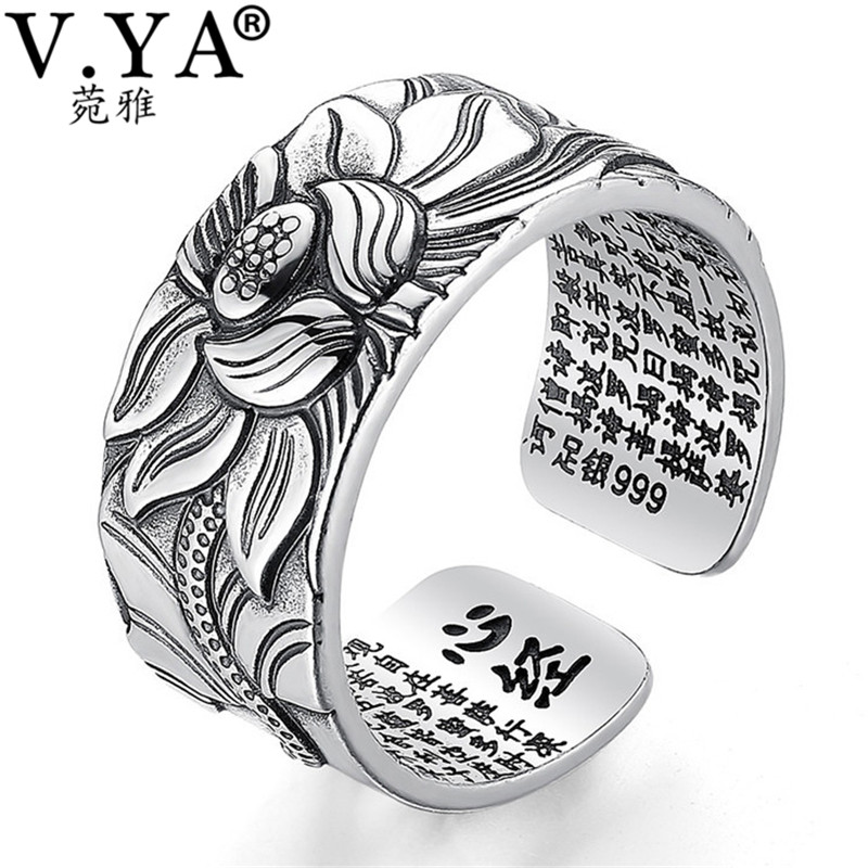 V.YA 100% Real 999 Pure Silver Jewelry Lotus Flower Open Ring For Men Male Fashion Free Size Buddhistic Heart Sutra Rings Gifts(China)