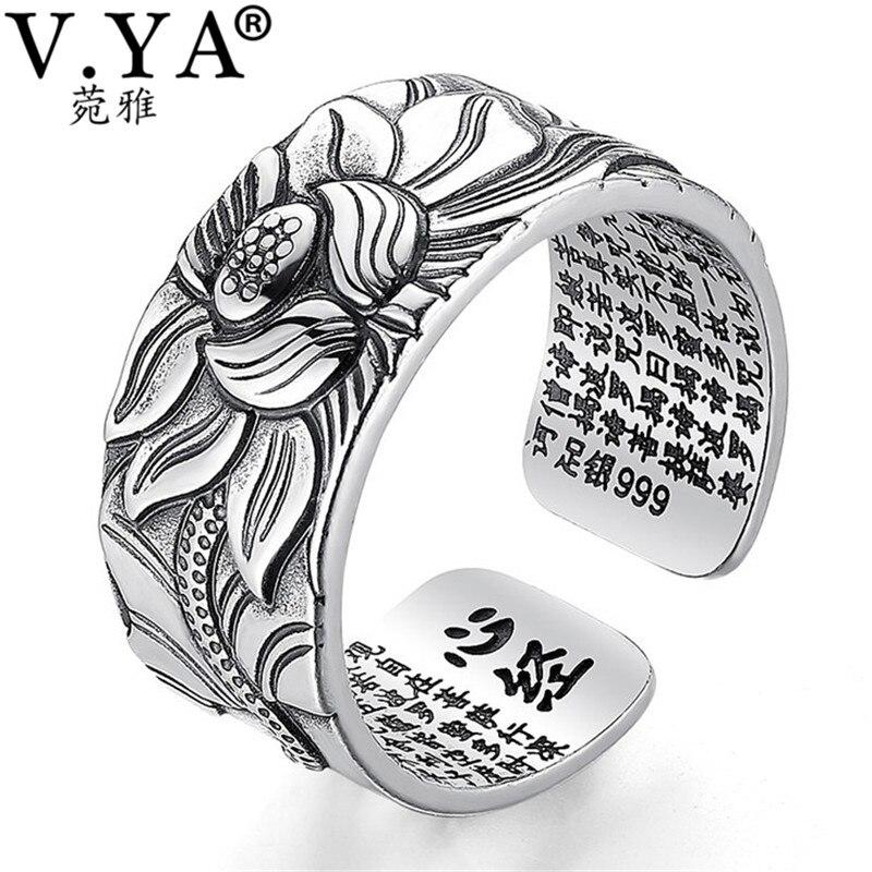V. YA 100% Real 999 joyería de plata pura flor de loto anillo abierto para hombres moda masculina tamaño libre Buddhistic Sutra del Corazón anillos regalos