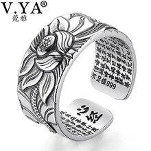 V. YA 999 Real 100% joyería de plata pura flor de loto anillo abierto para hombres moda masculina tamaño libre budista corazón Sutra anillos regalos