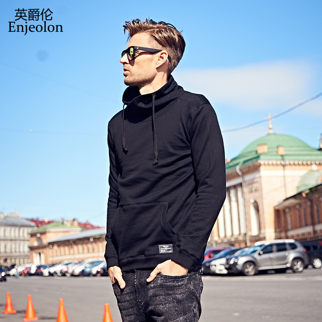 Enjeolon brand Long Sleeve high collar Sweatshirt Men Hooded Black casual Sweatshirt Men Hoodies Solid Pullover Clothing WY105