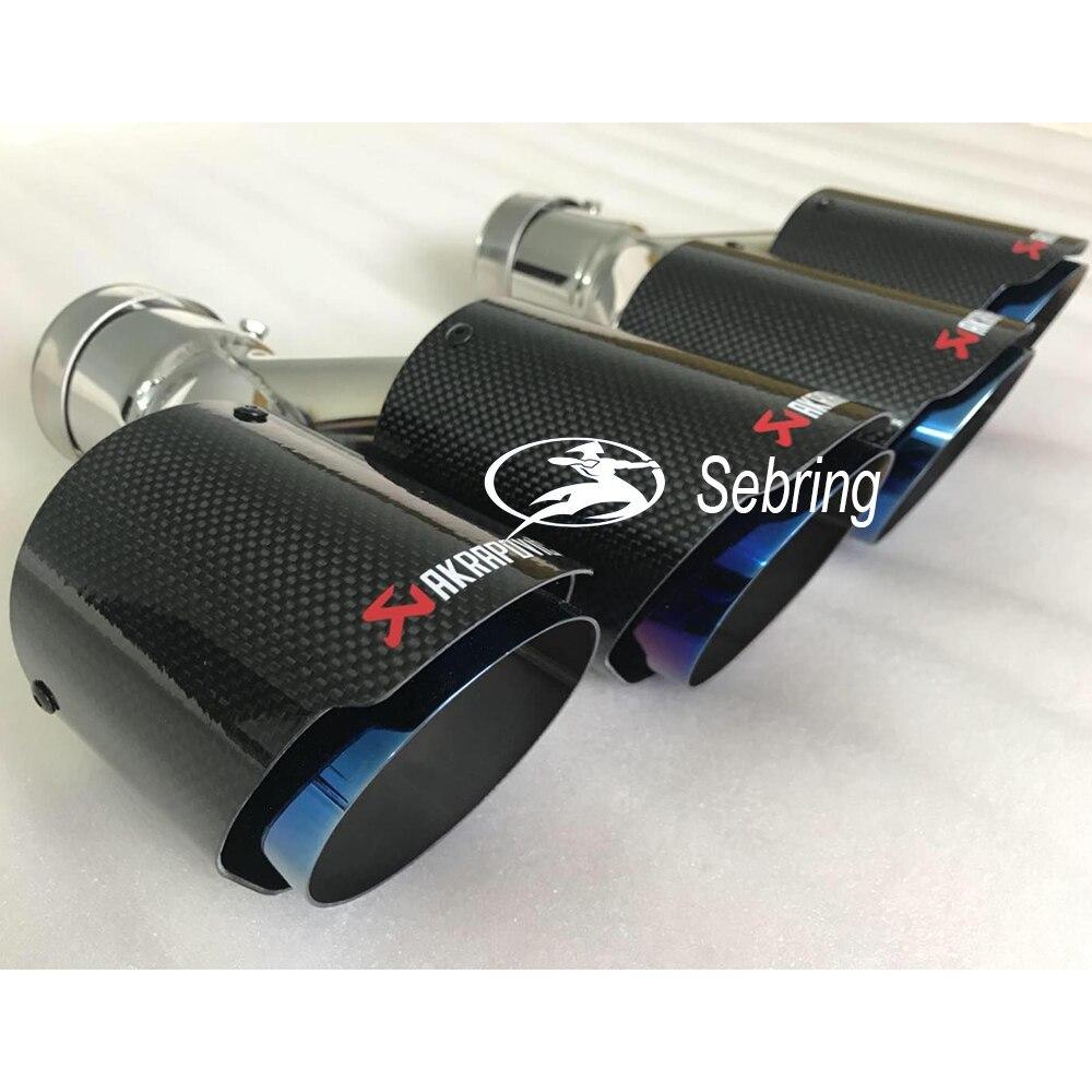 1 PC voiture Modification AKRAPOVIC universel double bleu Automobile tuyau d'échappement silencieux pointe pour BMW série 3