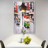 Hand Painted Oil Paintings HongKong Street Wall Art On Canvas Home Decor Abstract Oil Painting