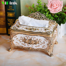 Fashion Retro Luxury Removable Tissue Box Modern Car Home Living Room Hotel KTV European Style Paper Napkin Rack Case