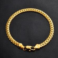 ECODAY Pulseira Masculina Men Jewelry 5MM Wide Chain Bracelet Gold Color Bracelets Men Pulseras