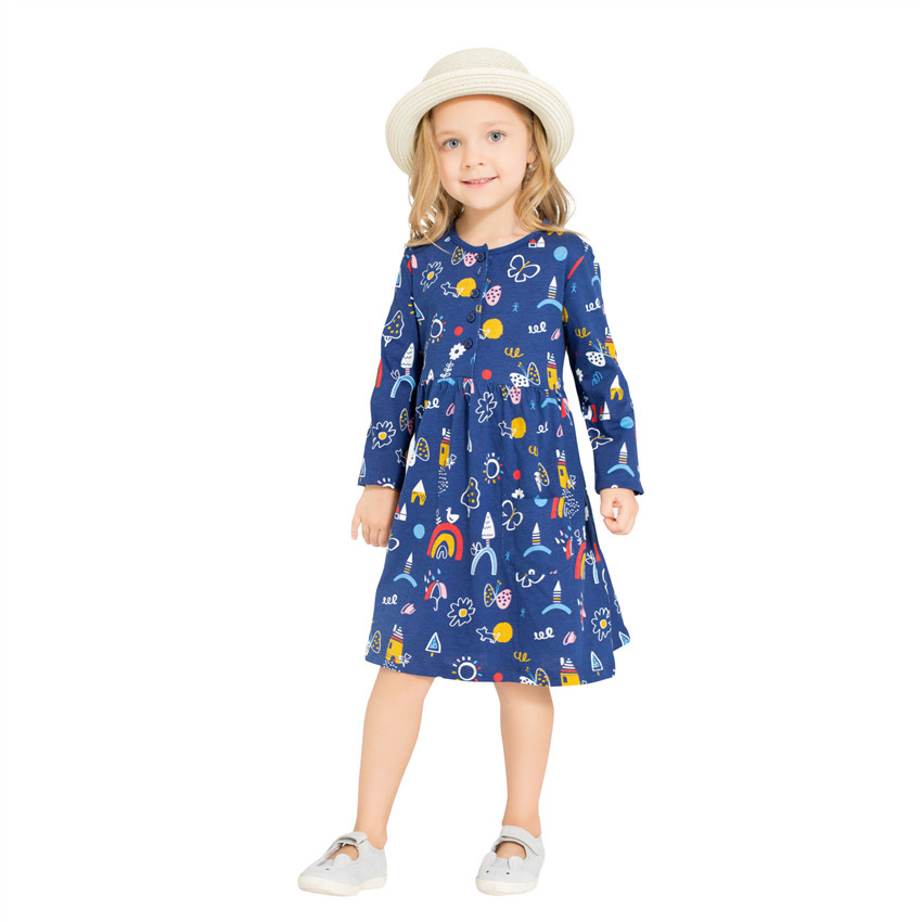 Girls fashion clothes dress cotton castle children clothes frock long sleeve printed knitted Europe and the United States dress high collar long sleeve printed dress