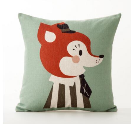 Circus cute animal red childrens Nordic office in England pillowcase waist pillowcase sofa cushion thick cotton linen pillowcase