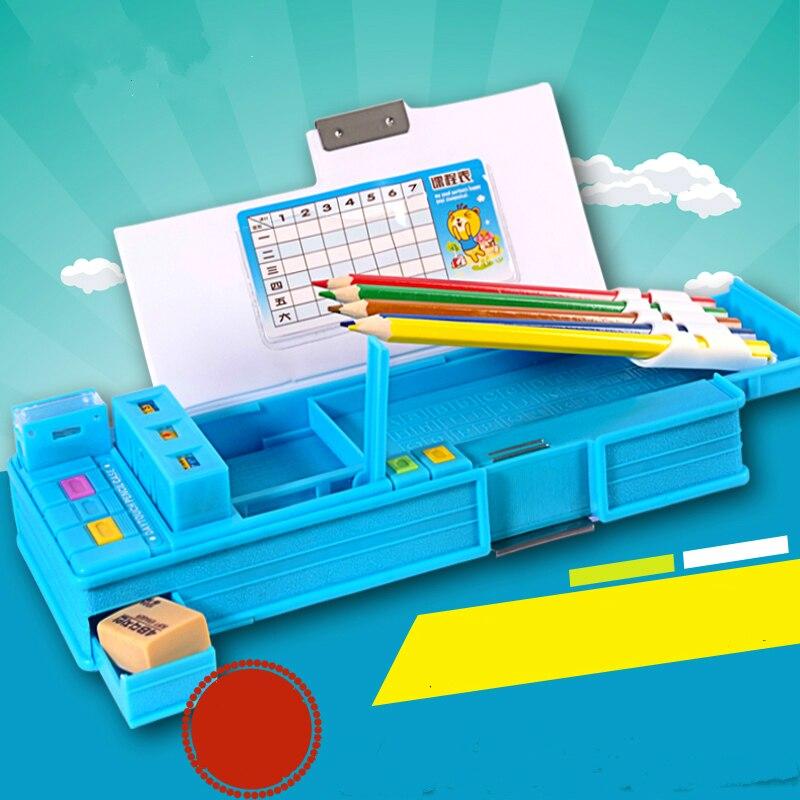 Criativo multifunction caixa de lápis automática kawaii bonito alunos caixa de lápis escolar papelaria penalty chancery calendários