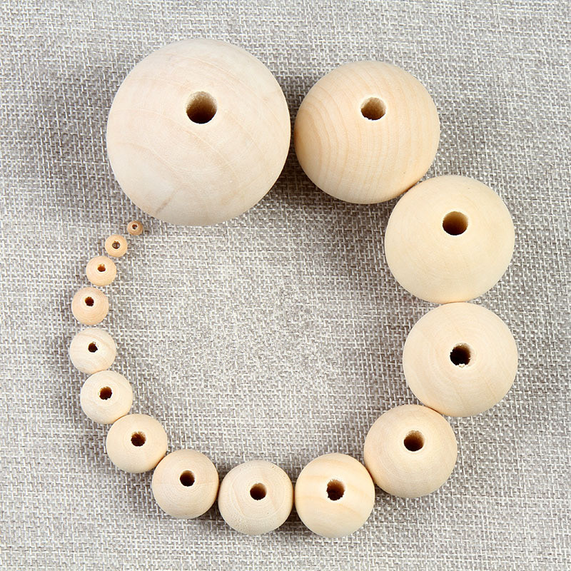 50Pcs 20mm Round Wood Beads Spacer Wooden Bead Natural Beads Balls Big Hole