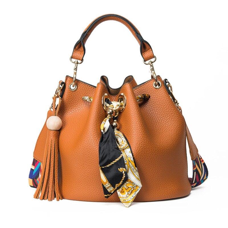 Latest 2016 Women Bucket Ribbon Bags Handbags Fashion Scarf Drawstring Bag Lady Leisure Colorful Shoulder Bag
