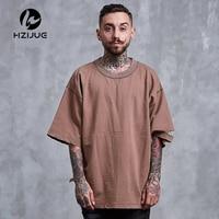 HZIJUE Ripped Hole Casual T Shirt Men Short Sleeve Hip Hop Streetwear Kanye West Tide Halloween