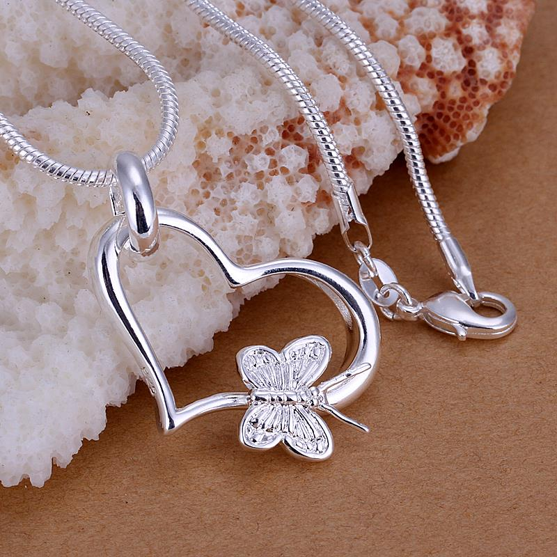 Charms New Fashion korea sweater Accessories Heart Butterfly Pendant wedding party prom for Women Girl Christmas Gift SL