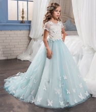 Simple Cheap Short Sleeves Flower Girl Dresses for Weddings With Butterfly Blue Girls Communion Gown 2017 Pageant Dress FH121