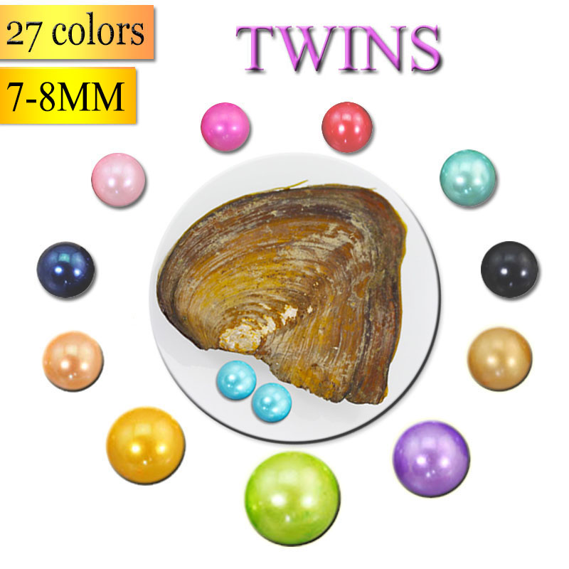 27 Colors Pearls Freshwater Vacuum-pack Oyster Wish Pearls, Pearl Mussel Shell with 7-8MM Twins Pearl Inside,Mounting ABH697