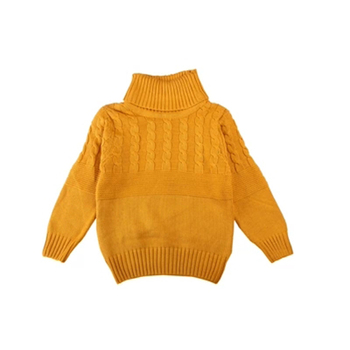 Grey Yellow High Collar Sweater Knitting Thread For Girls Fashionable And Lovely Autumn And Winter Children's Clothes