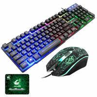 T5 Arco Iris retroiluminación teclado Usb + conjunto de ratón ergonómico de ruso, conjunto de ratón y teclado para PC portátil jugador # G4