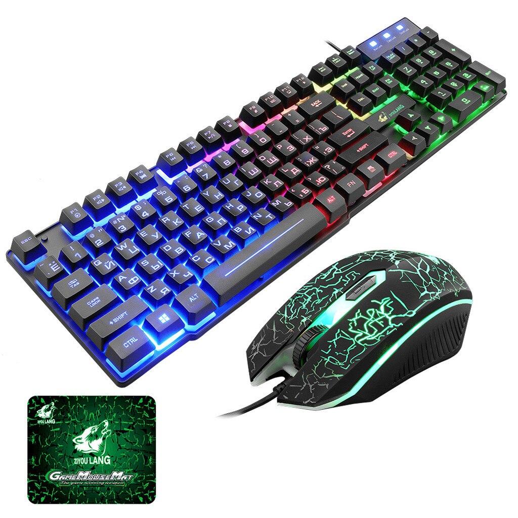 T5 arco-íris backlight usb teclado + mouse jogo ergonômico inglês russo teclado e mouse conjunto para computador portátil gamer # g4