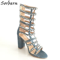 Sorbern Blue Denim Crystals Rivets Gladiator Sandals Women Chunky Heel Bling Shoes Size 41 Woman Shoes