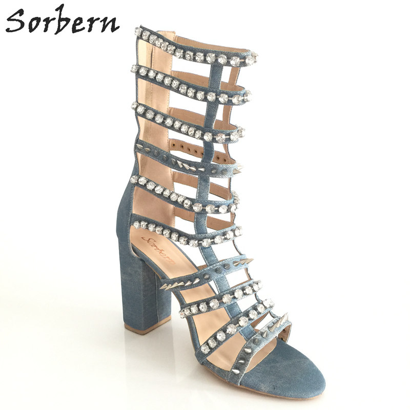 a31a88f7b63ee3 Sorbern Blue Denim Crystals Rivets Gladiator Sandals Women Chunky Heel Bling  Shoes Size 41 Woman Shoes Big Size Summer Sandals