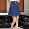 Nova moda feminina 'elegante vintage botão sólidos saias jeans mulheres uma linha de Jeans Saia Midi Plus Size Casual de Alta Saia Cintura XL