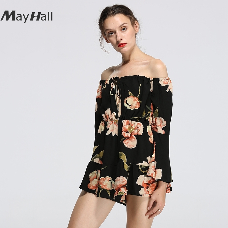 MayHall Summer Women Print Floral Playsuit Slash Neck Sexy Beach Short Jumpsuit Holiday Rompers Body Feminino MH144 in Rompers from Women 39 s Clothing