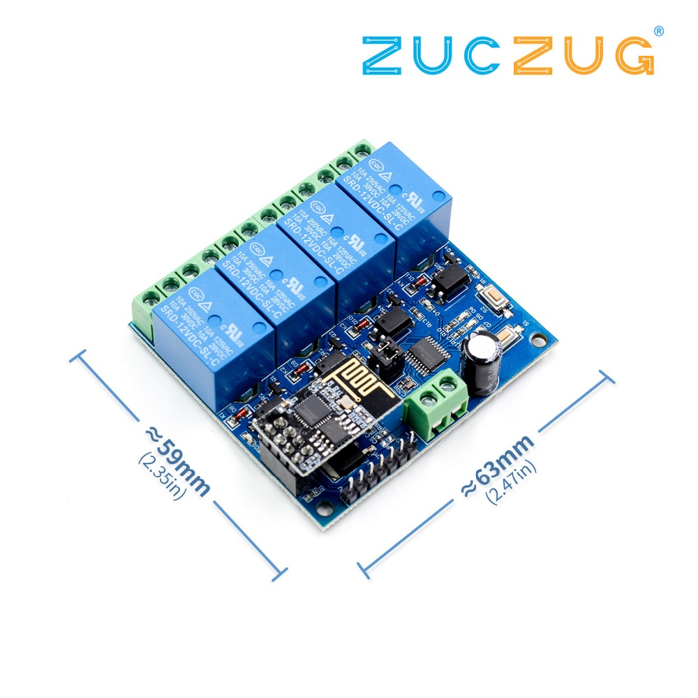 12V ESP8266 ESP-01 4 Channel Wifi Relay Module Remote Control Switch For Smart Home IOT Transmission Phone APP Controller 100m