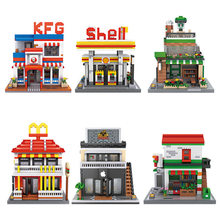 City street view micro diamond building block АЗС shell Starbuck Mcdonalds apple store Ресторан nanoblock игрушки Кирпичи(China)