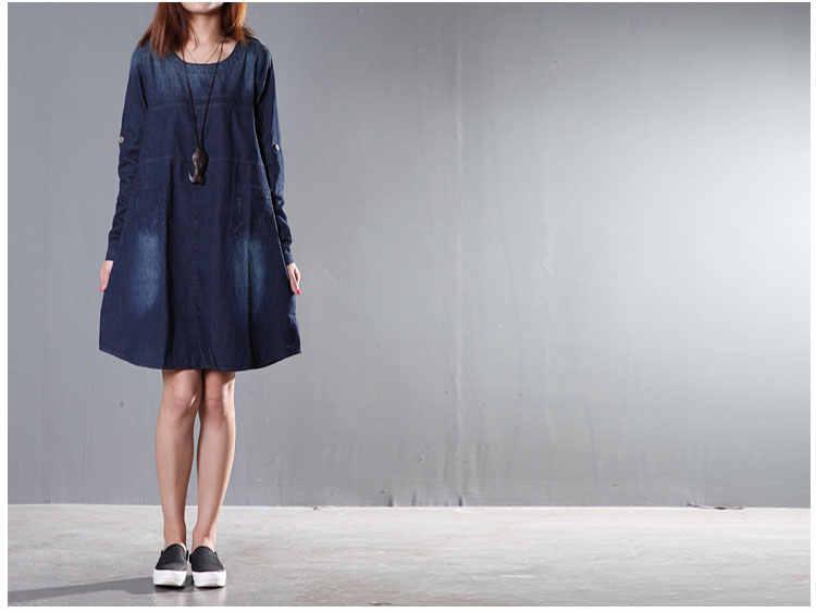 Винтаж Весна-осень-зима платье с длинным рукавом Большие джинсы платье для Для женщин Vestido Винтаж футболка платье из джинсовой ткани халат Vestidos