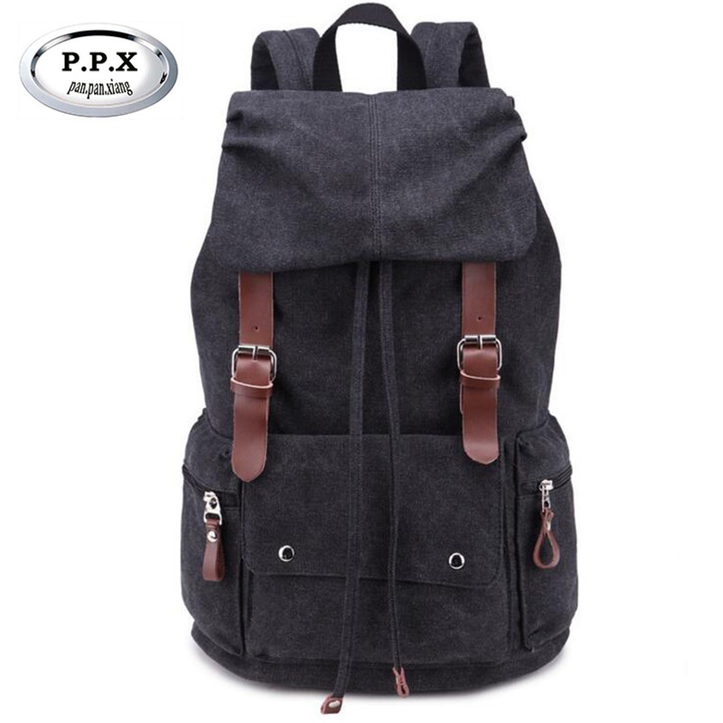 P.P.X Vintage Travel Backpack Wear-resisting Canvas Backpacks For Teenage Youth School B ...