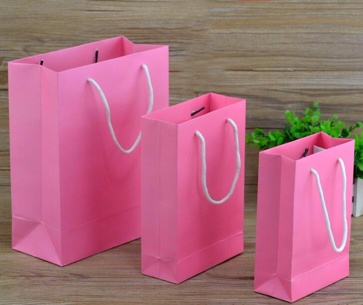 16 X 12 Custom Printed Kraft Paper Wedding Gift Bags: Logo Printing White Kraft Paper Gift Bag With Handle