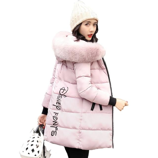 ffa741e7385 2019 New Fashion Women Winter Jacket With Fur collar Warm Hooded Female  Womens Winter Coat Long