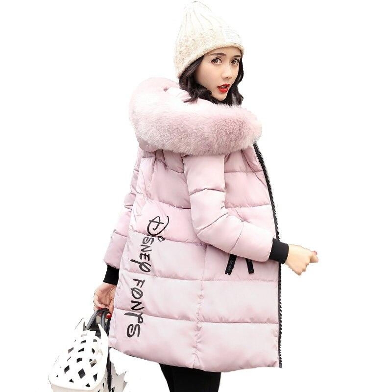 2019 nueva moda mujer chaqueta de invierno con cuello de piel caliente con capucha mujer abrigo de invierno Parka larga Outwear Camperas