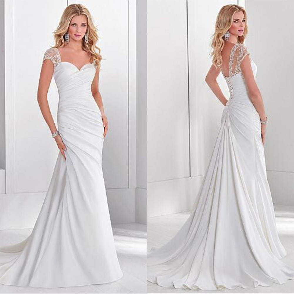 Sweetheart Wedding Dress With Cap Sleeves: Elegant Sweetheart White Ruched Wedding Dress Cap Sleeve
