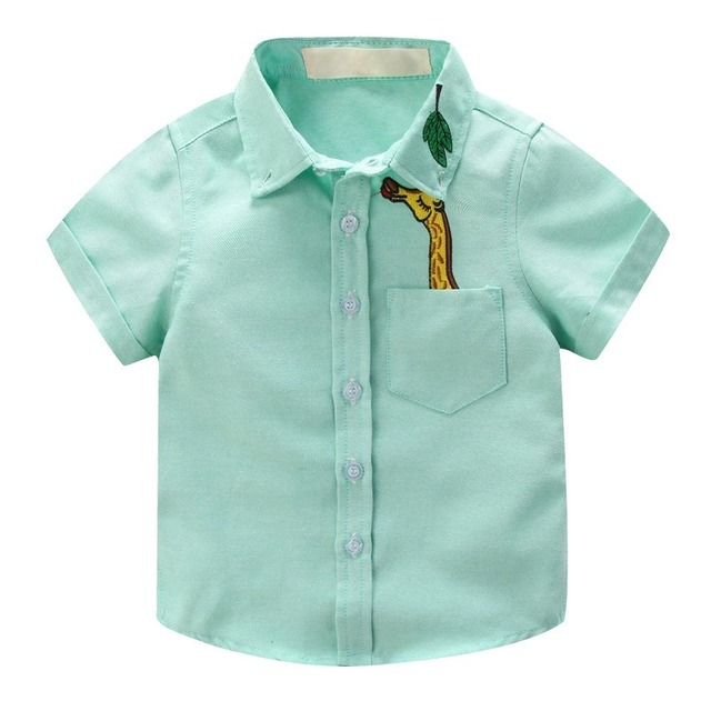 Boys' Short Sleeved Plain Polyester Shirt