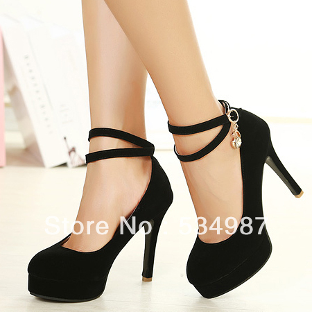 d6439f03dc3f Fashion Round Closed Toe Stiletto High Heels Black Suede Ankle Strap Womens  Pumps