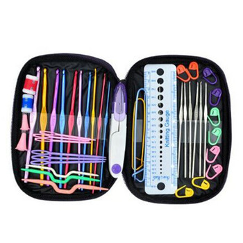 22 Pcs Sizes 2.0mm-6.0mm New Colorful TPR Soft Handle Aluminum Crochet Hooks Knitting Needles Set Hot Sale