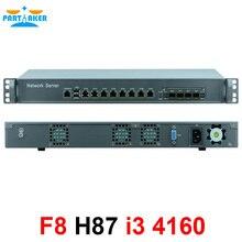 1U רשת חומת אש נתב מערכת עם 8 יציאות Gigabit lan 4 SPF Intel i3 4160 3.6Ghz Mikrotik PFSense ROS wayos 4G RAM 128G SSD