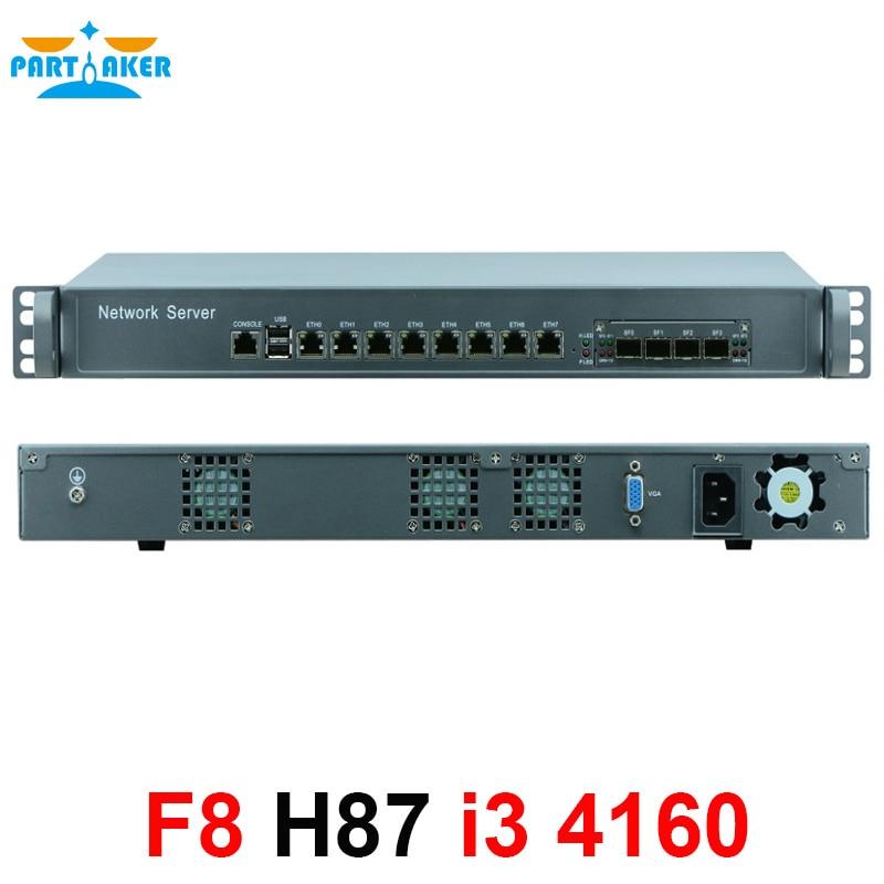 1U network Firewall Router System with 8 ports Gigabit lan 4 SPF Intel i3 4160 3.6Ghz Mikrotik PFSense ROS Wayos 4G RAM 64G SSD hardware firewall 1u network with 4 intel 1000m 82574l gigabit lan 4 spf intel core i3 4130 3 4ghz mikrotik ros 2g ram 8g ssd