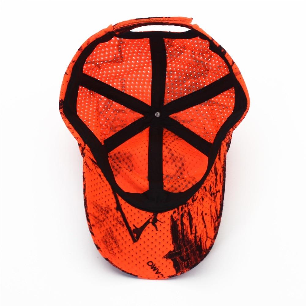 Hunting Fishing Orange Camo Cap Adjustable Camcouflage Baseball Cap (3)
