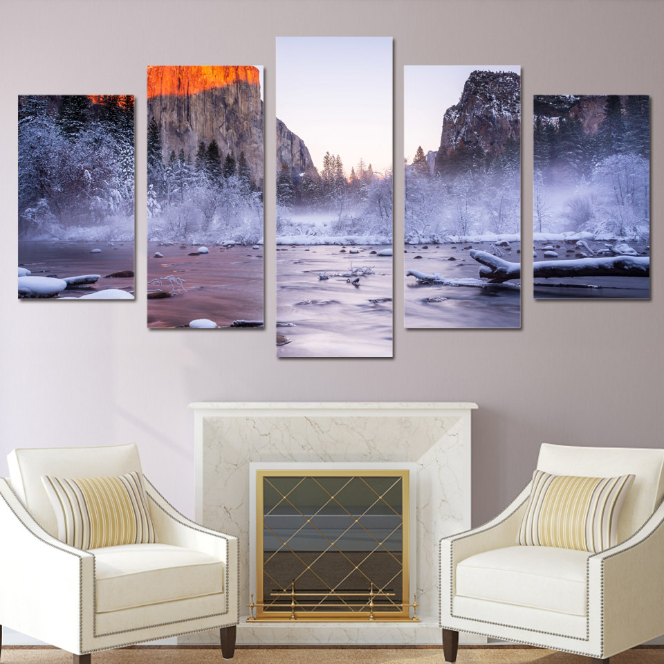5 piece canvas art mount snow cover printed wall art home for 5 piece mural