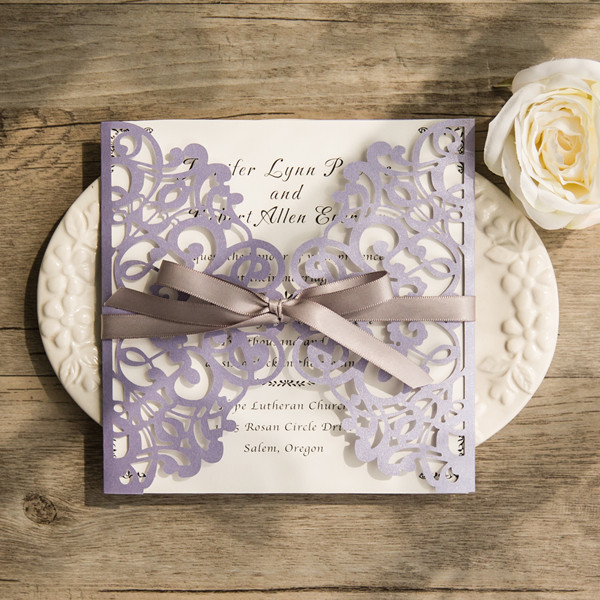 Lavender Laser Cut Wedding Invitations With Grey Ribbon Bows Birthday Engagement 28 Color Choice Lc078 In Cards From Home