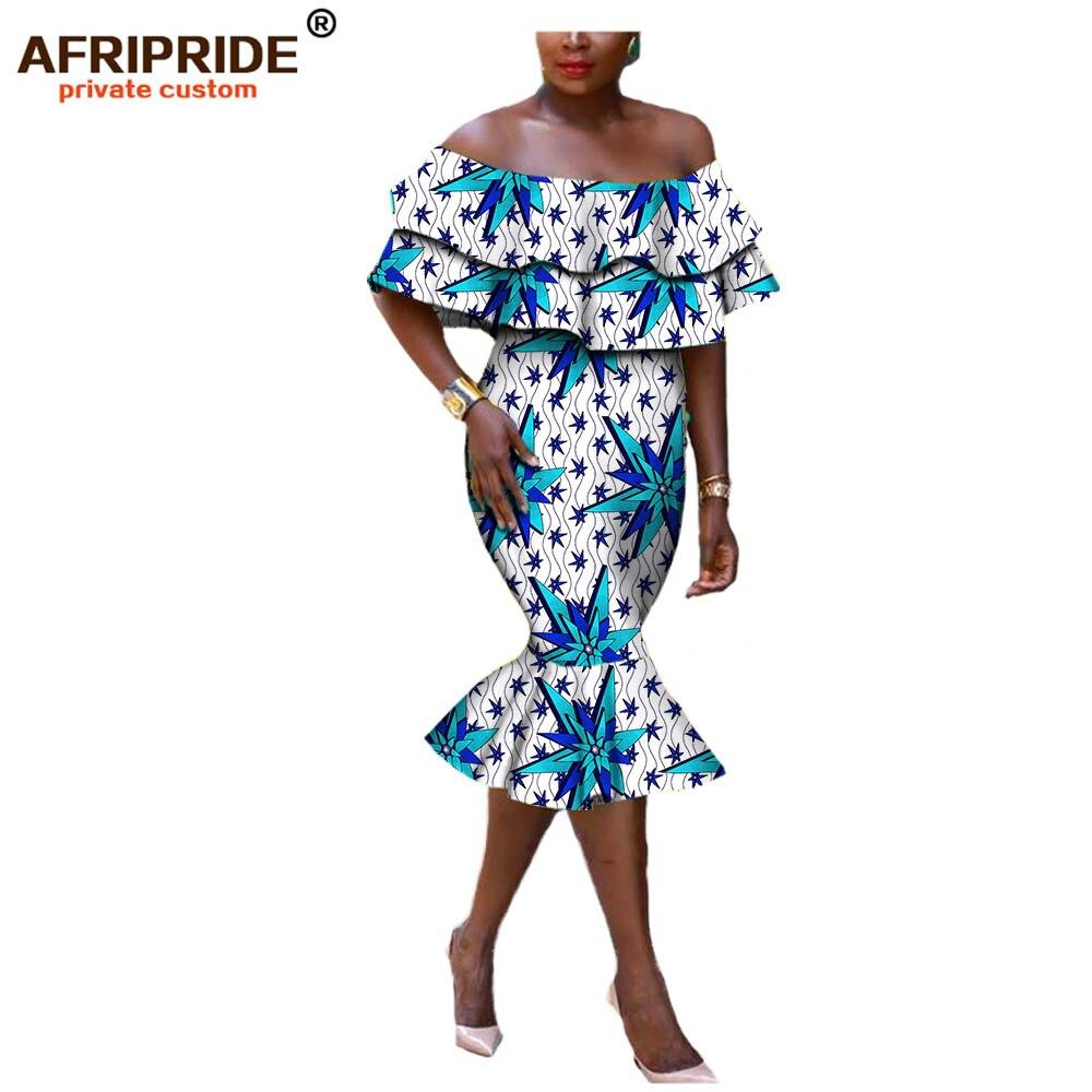 2018 long dress for women AFRIPRIDE african clothing elegant off shoulder strapless mid calf fishtail women