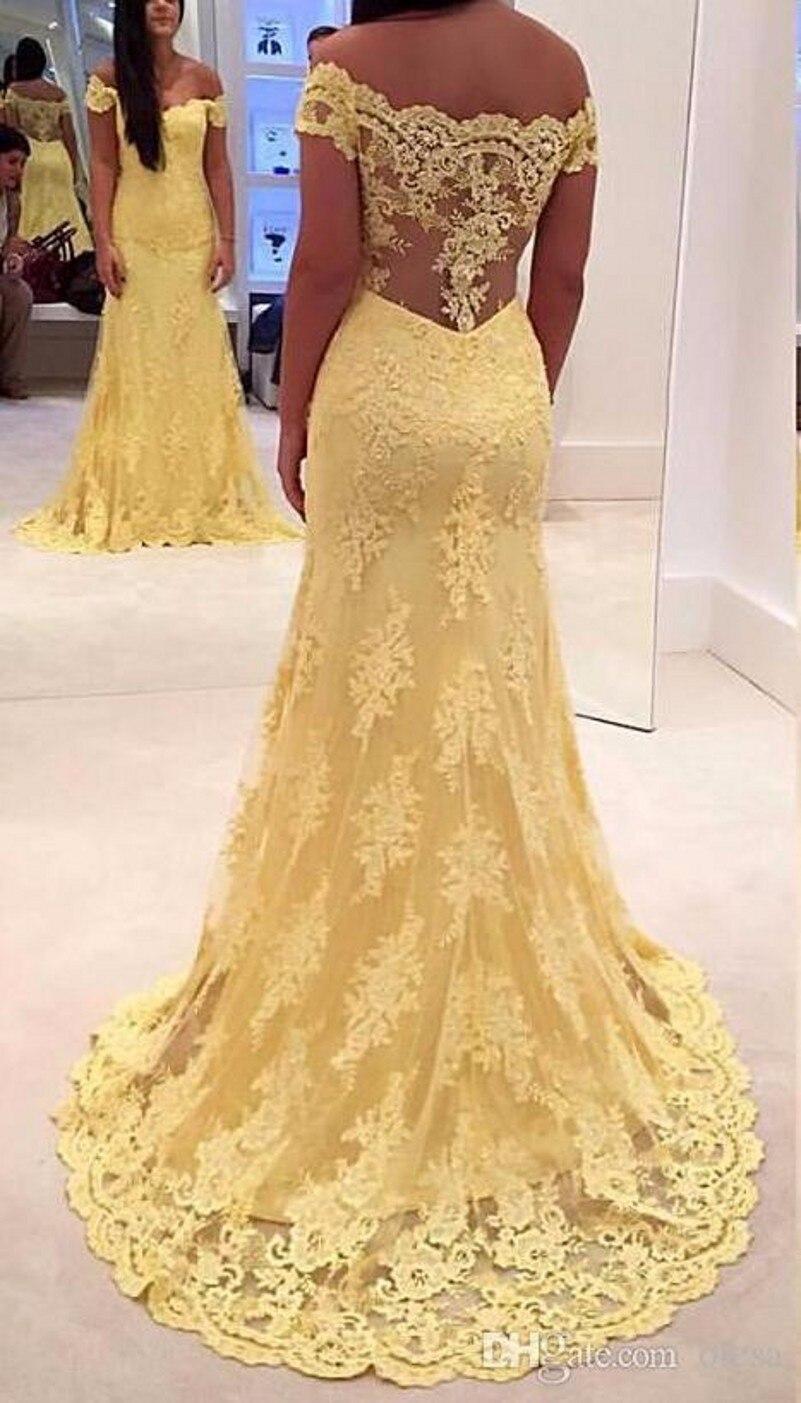 2ff5375077 Amarillo 2016 Vestido de Boda de la Sirena Cuello En V Tren de Barrido de  Largo Applique del cordón Por Encargo Más Tamaño vestido de Novia Vestidos  de ...