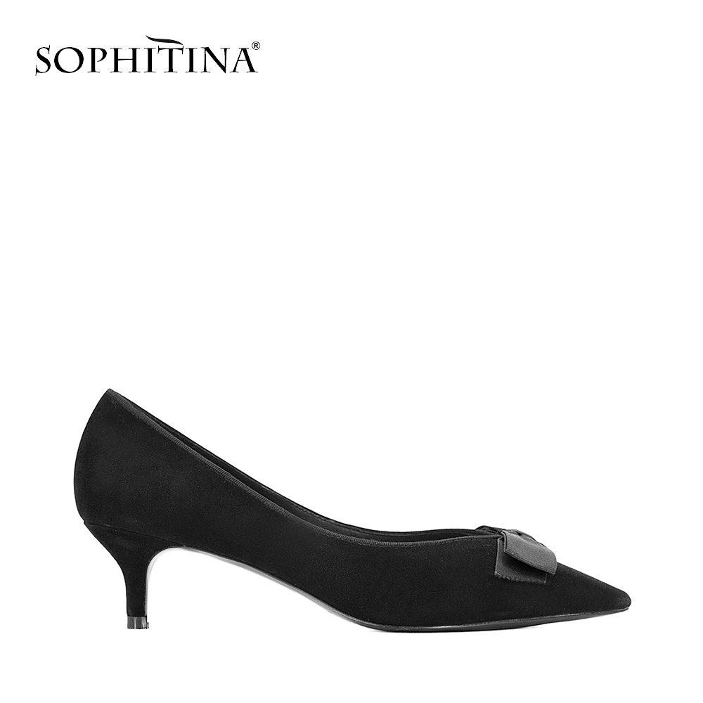 SOPHITINA Kid Suede Woman Pumps Thin Heels Wedding Party Lady Pumps Sexy Pointed Toe Butterfly knot
